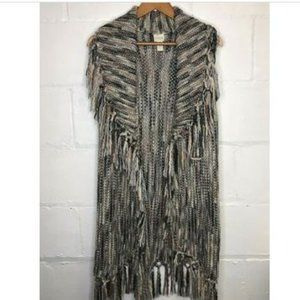 Chicos Knit Gray Fringe Duster Vest Sweater Tunic